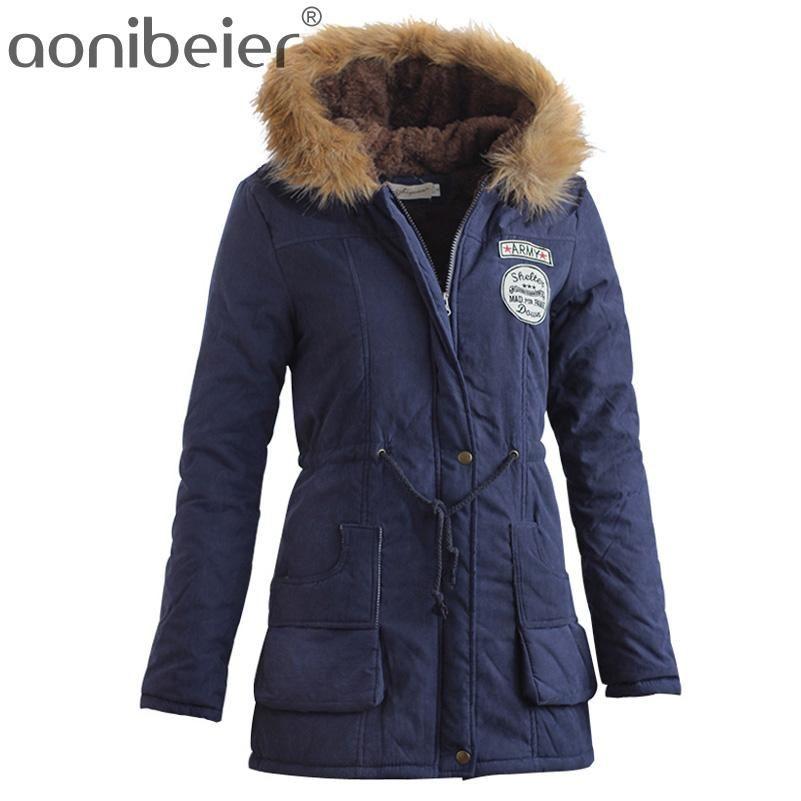 dcb7affdedea Women Coats Fashion Autumn Warm Winter Jackets Women Fur Collar Long Parka  Plus Size Hoodies Cotton Outwear