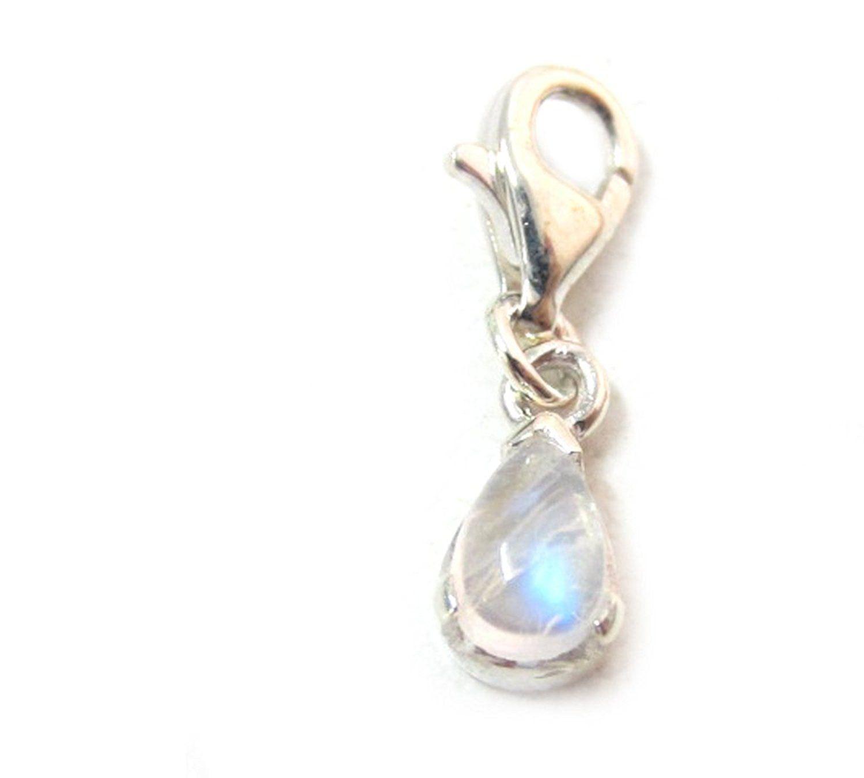 925 Sterling Silver Polished Created Opal Teardrop Charm Pendant