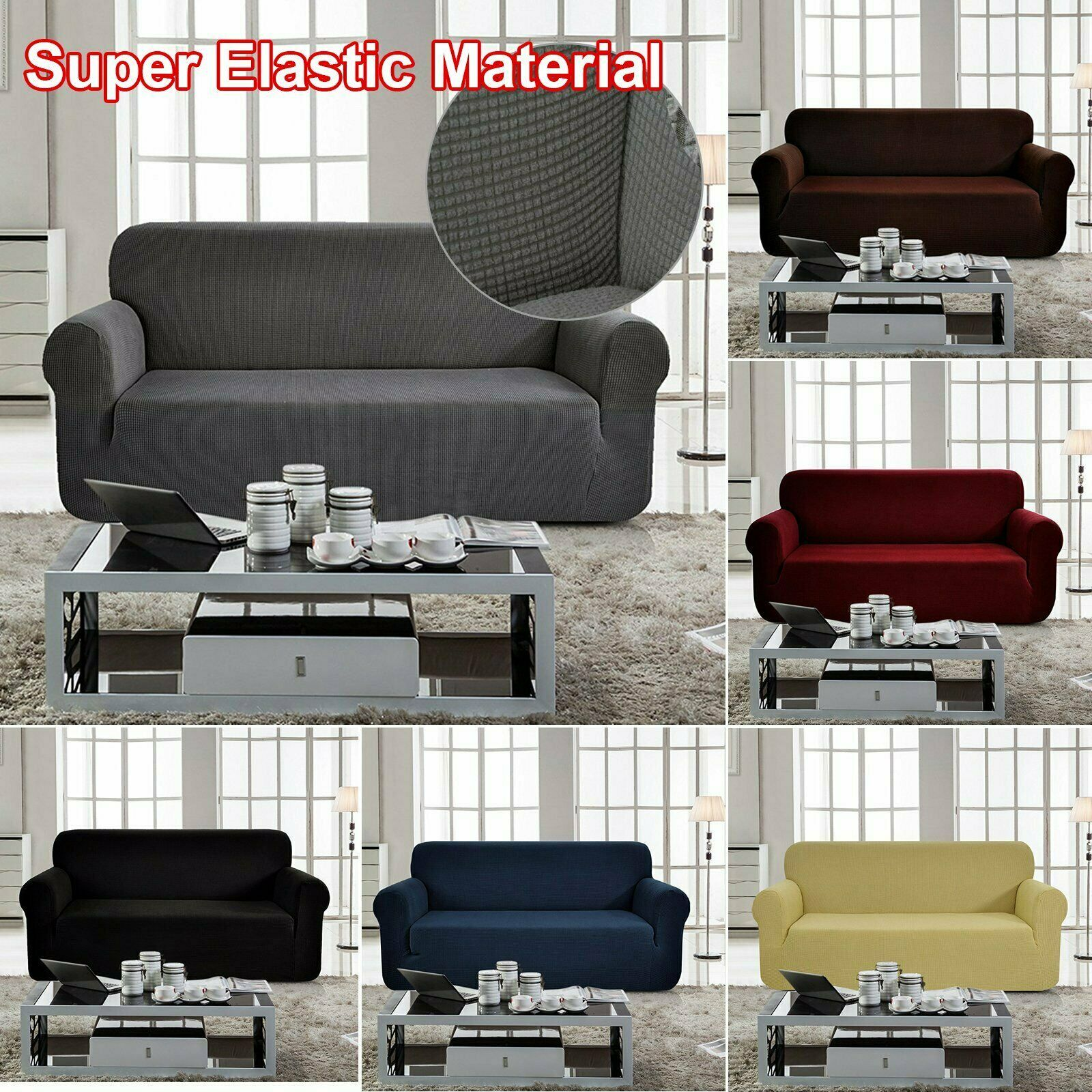 1//2//3//4 Seater Elastic Slipcovers Recliner Sofa Covers Stretch Home Protectors