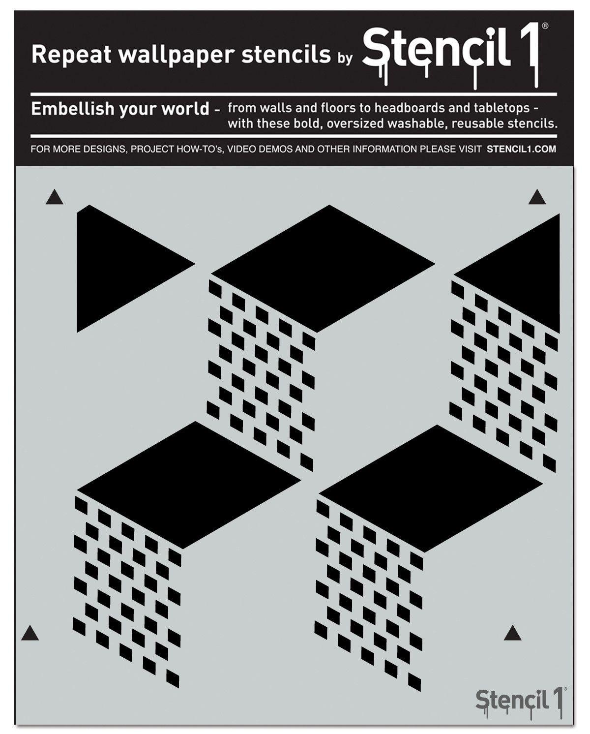 "Stencil1 11""x11"" Stencil Geometric 3D (With images"