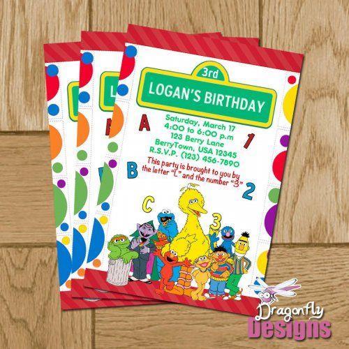 Printable Sesame Street Group Personalized Birthday Invitations Di