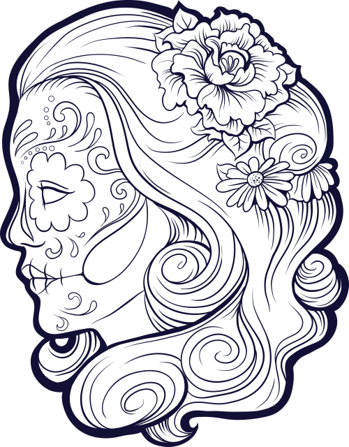 Coloring Pages For Adults Skull : Sugar skull advanced coloring 9