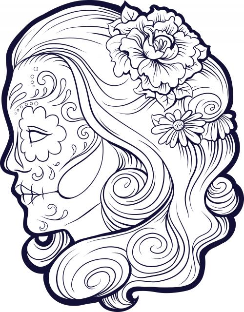 Sugar Skull Advanced Coloring 9 | COLOREAR | Pinterest | Colorir ...