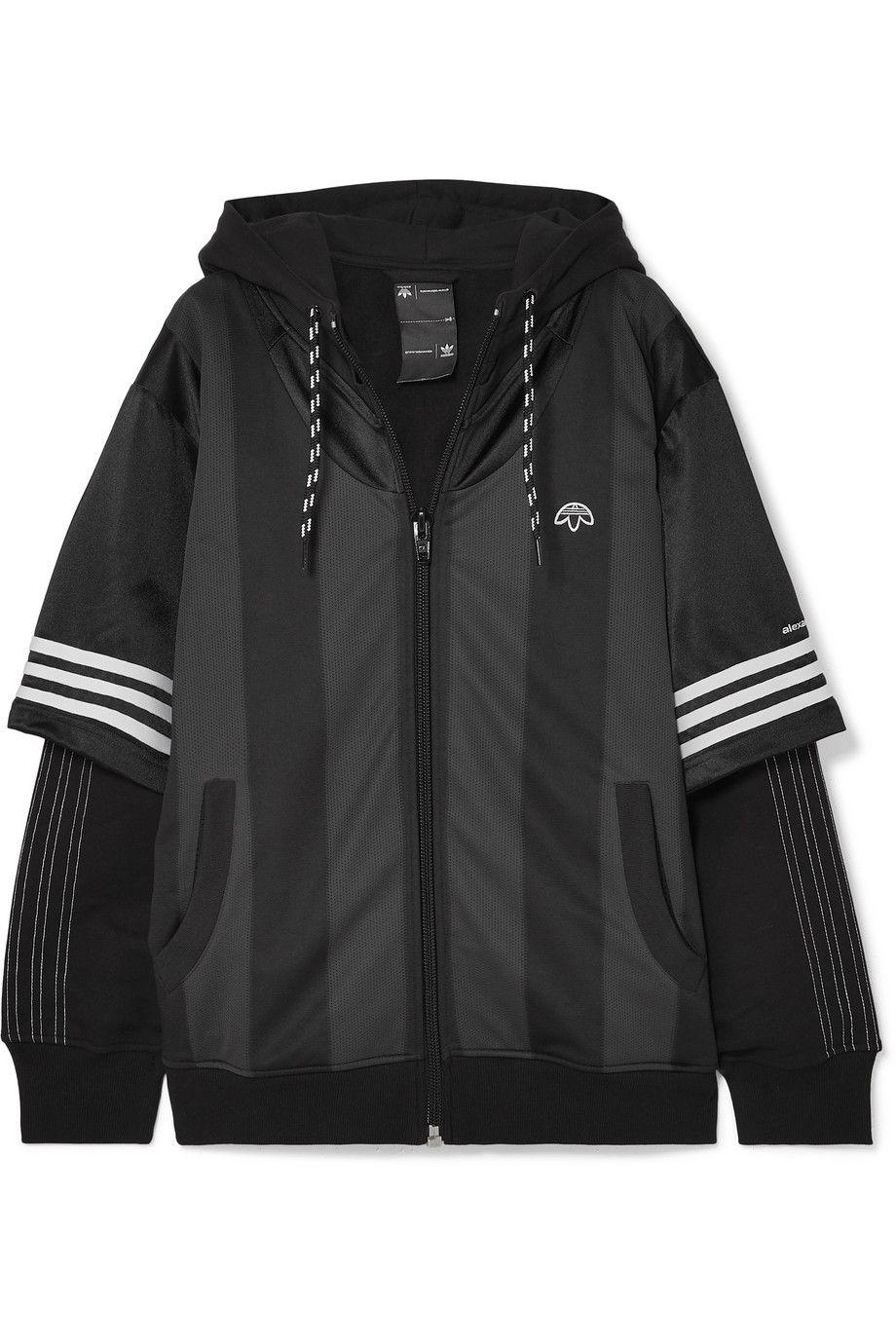 implicar Creo que mareado  Adidas Originals By Alexander Wang | Hooded layered fleece, mesh and  tech-jersey jacket | NET-A-PORTER.COM | Jersey jacket, Jackets, Alexander  wang