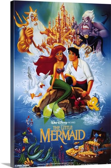The Little Mermaid (1989) Solid-Faced Canvas Print