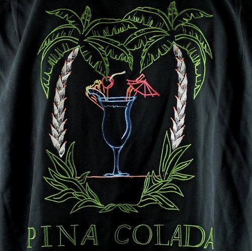 Bobby Chan Pina Colada Cocktail Palm Lounge Shirt Medium Silk Black Embroidered | eBay