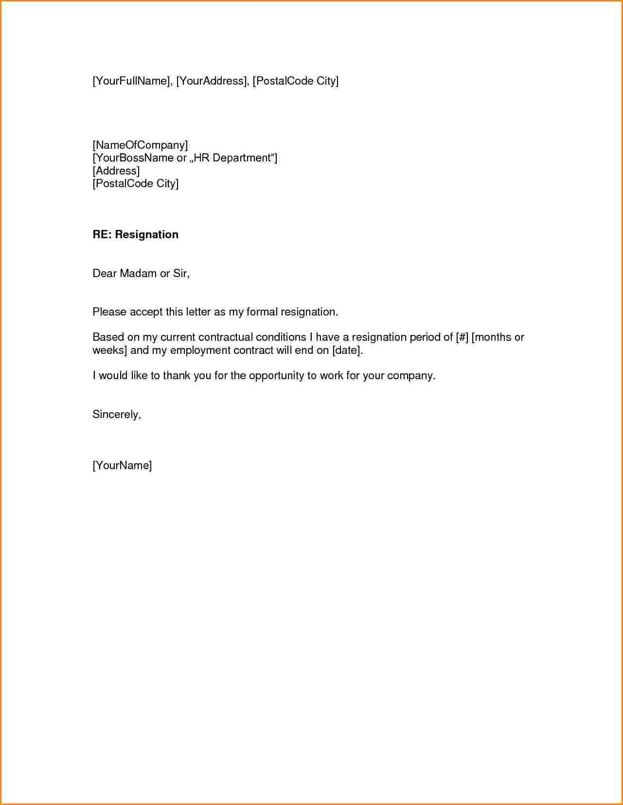 Weeks Notice Letter Quit Job Receipts Template Resignation Samples