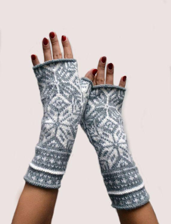 Guantes sin dedos gris nórdicos - el largo guantes sin dedos guantes ...