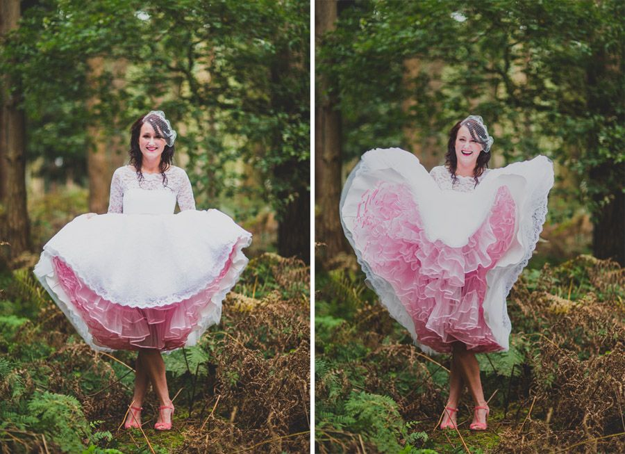 photo of bride in candy anthony dress showing pink petticoat ...