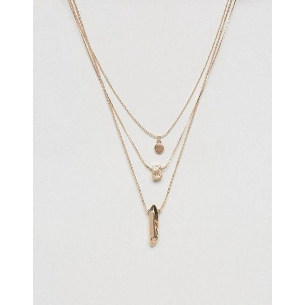 ASOS Pack of 3 Gold Nugget Layering Necklaces 18 liked on