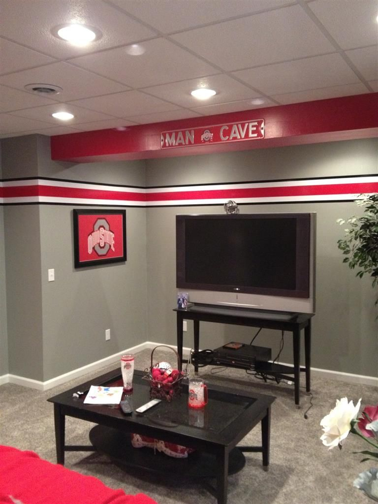 Buckeye man cave kids room the ohio state university pinterest buckeyes men cave and cave for Ohio state bedroom paint ideas
