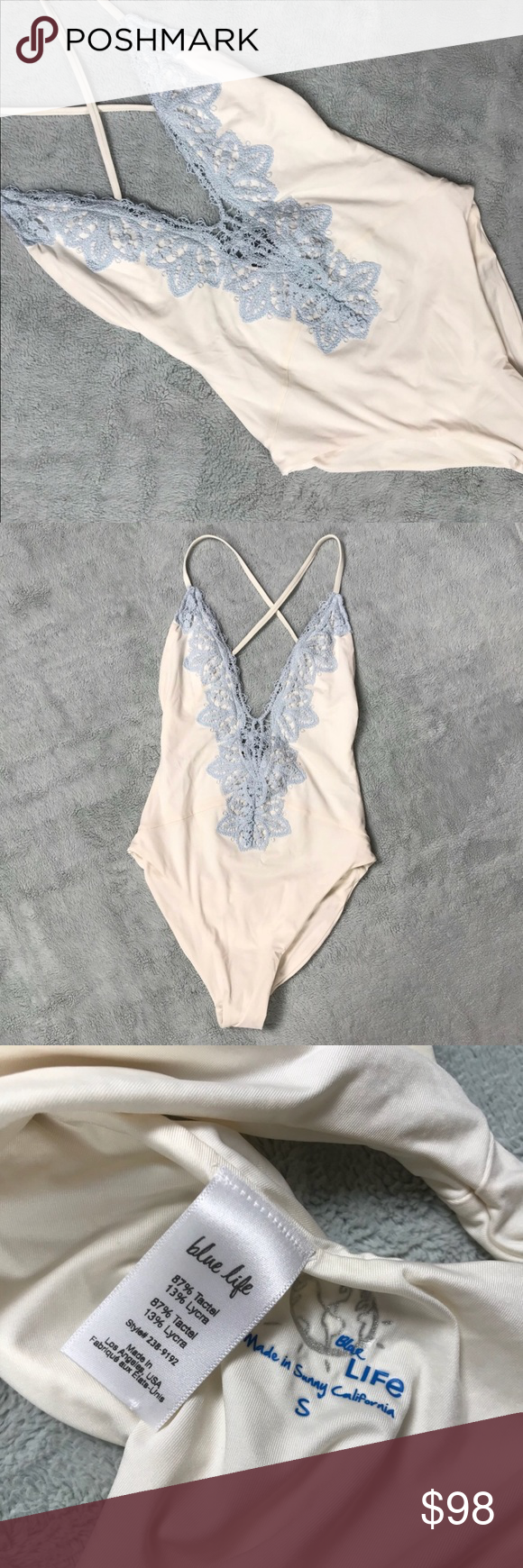 Blue Life Eclipse 1 Piece Swimsuit Something Blue Good used condition. Eclipse Swimsuit by Blue Life in Something Blue, a gorgeous white with light blue lace detailing. So gorgeous & perfect for a bride on a beach honeymoon. One-piece with plunging v-neck. Adjustable racerback straps that crisscross above open back. Made in USA. Note: light interior wear/sticker residue from removing hygienic liner, see photos. Size small, see photos for measurements. Blue Life Swim One Pieces #beachhoneymoonclothes