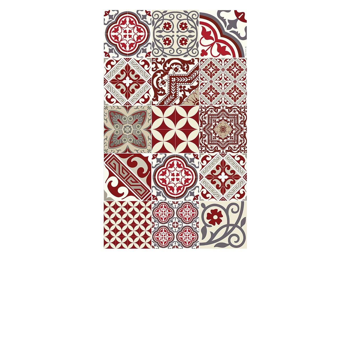 Tapis Vinyle - Eclectic - Rouge & Gris - 60 x 97 cm - Beija Flor ...