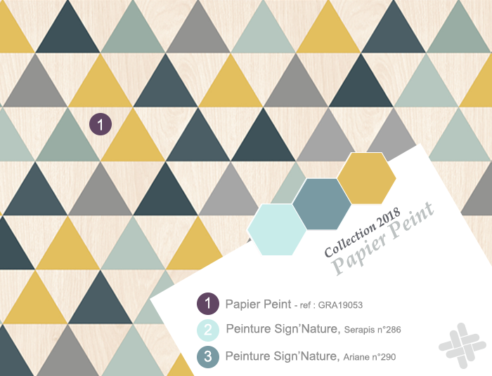 Papier Peint A Motif Geometrique Triangle Couleur Jaune Moutarde