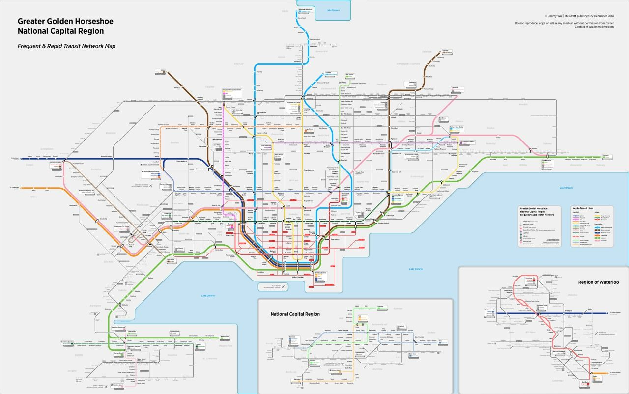 Toronto Dream Subway Map.Fantasy Map Toronto Southern Ontario Frequent Rapid Transit Map By