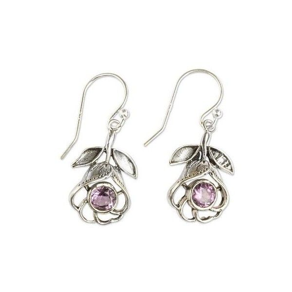 NOVICA Floral Silver Earrings with Amethyst ($35) ❤ liked on Polyvore featuring jewelry, earrings, amethyst, dangle, dangle earrings, silver amethyst earrings, flower jewelry, novica jewelry and amethyst earrings