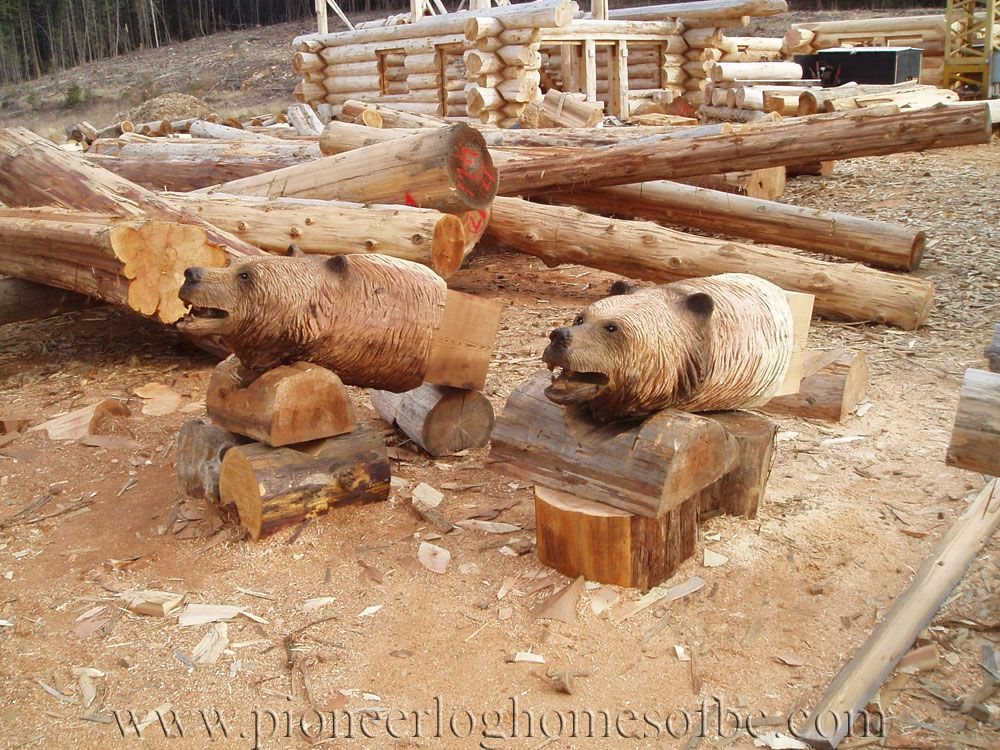 Log carving bear heads design pinterest wood