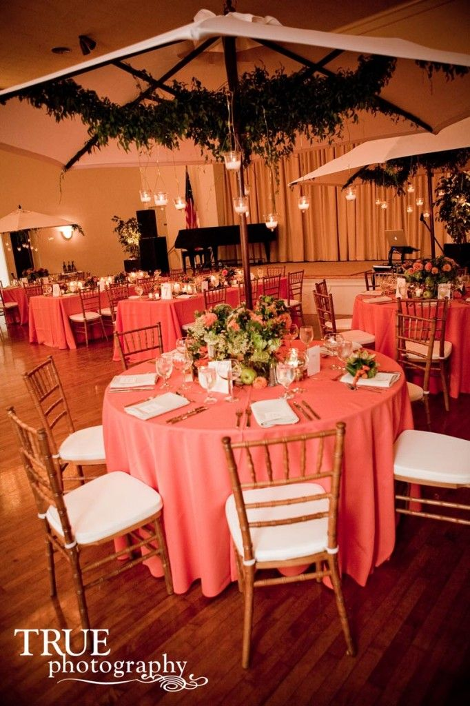 Coral tablecloths throughout or silver Weddings Pinterest