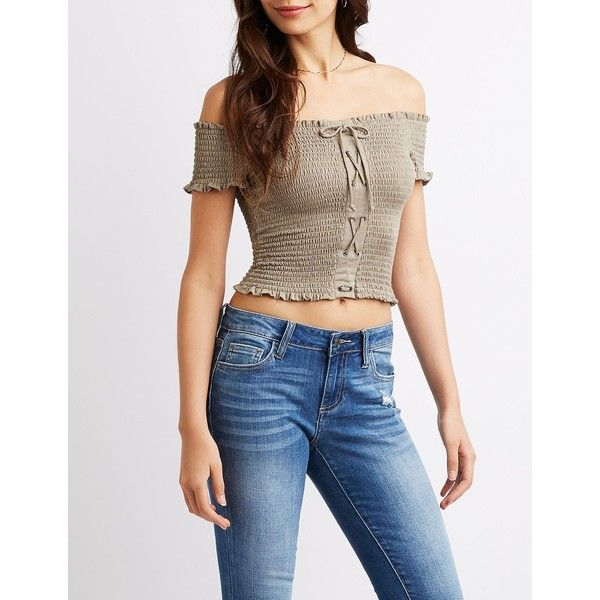 317cb3f53e627 Charlotte Russe Lace-Up Smocked Off-The-Shoulder Crop Top ( 20) ❤ liked on Polyvore  featuring tops