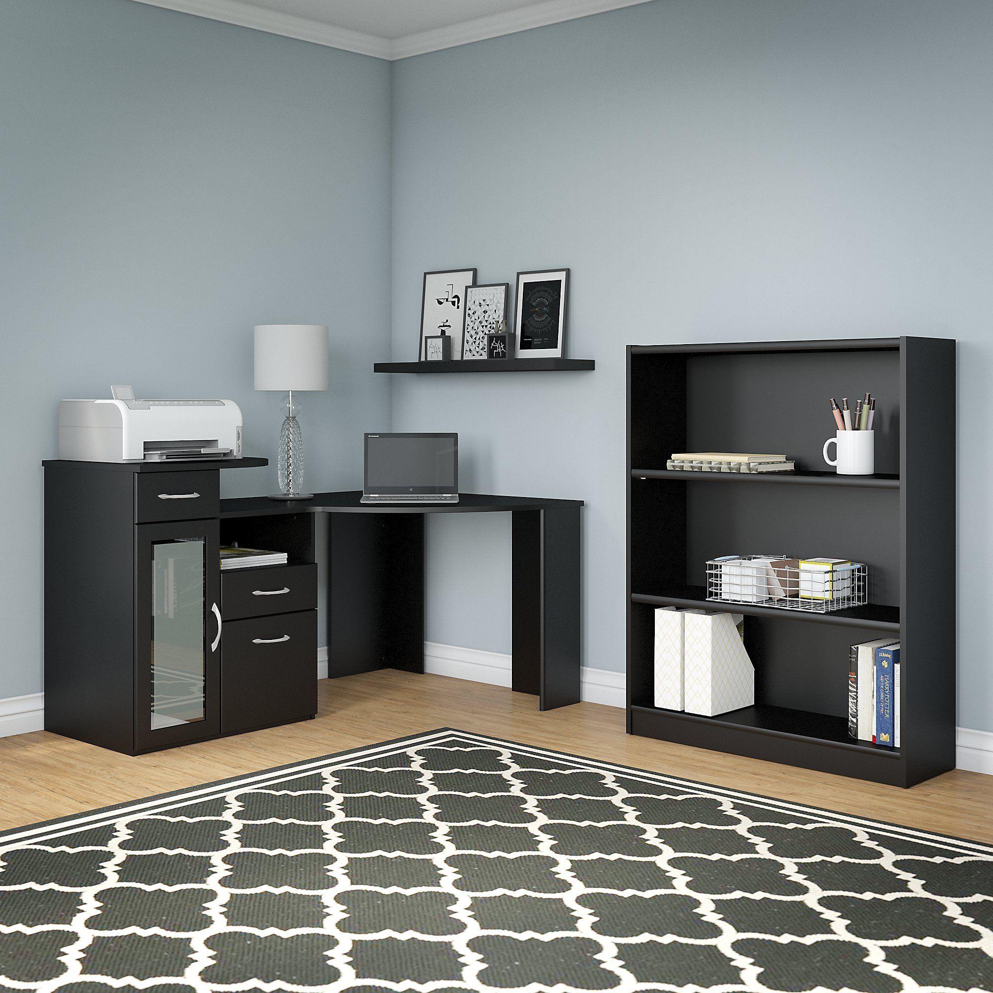 Bush Furniture Vantage Clic Black Corner Desk And Bookcase Set With 3 Shelf