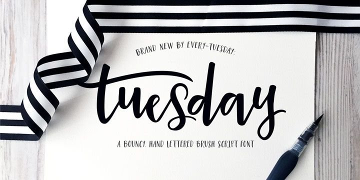 Tuesday Script Font Free Download Lettering Brush Script Fonts