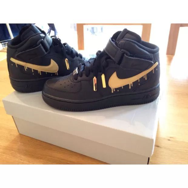 b854128a02a9 black gold drip af1s air force one high tops Nike Outfits