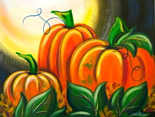 Pumpkin Patch Acrylic Painting With Images Pumpkin Canvas