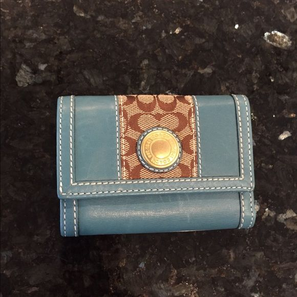 Teal Coach Wallet Great condition Coach teal leather wallet. No wear. Never used. Goes with teal hobo listed! Coach Bags Wallets