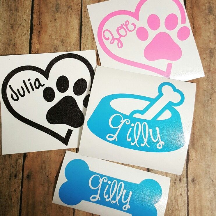 Dog Bowl Decal Puppy Name Sticker Treat Jar Decal Custom Dog Name Bone Decal Personalized Pet Name Wall Decal Dog Car Decal