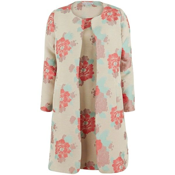 Gina Bacconi Floral jacquard dress and jacket ($465) ❤ liked on Polyvore featuring dresses, coral, women, summer cocktail dresses, summer dresses, floral dress, sleeveless shift dress y knee length cocktail dresses