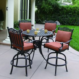 Darlee 5 Piece Aluminum Patio Bar Height Lowes Set 1 549 80 Cushion Seat And