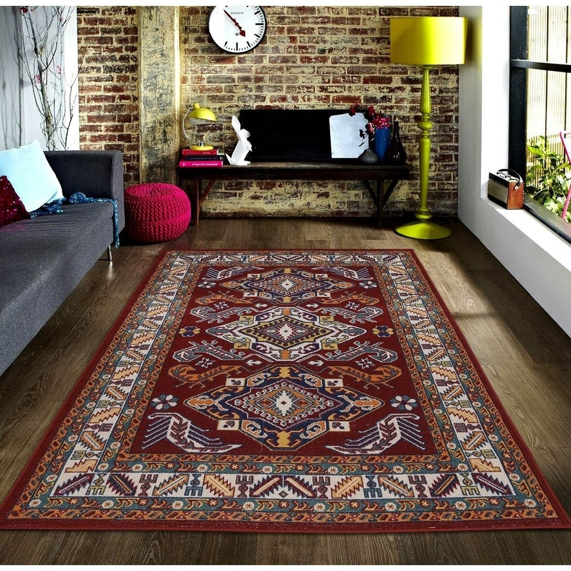 Persian Style Traditional Oriental Medallion Area Rug Klm 50 Blue