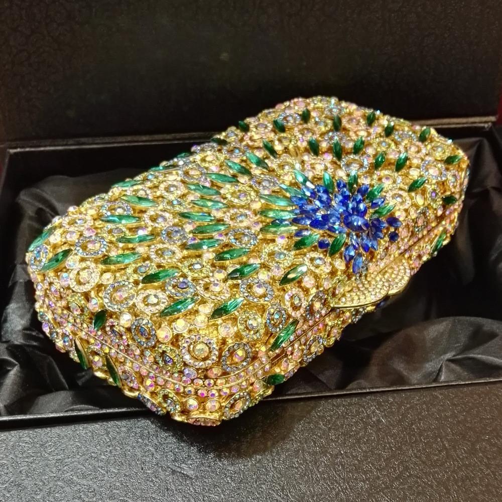 ff3d6d025f Flower Purses for women Luxury Rhinestone Crystal Evening Bridal Clutch Bags