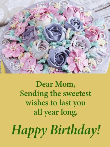 Rose Designed Birthday Cake Card For Mother Birthday Greeting Cards By Davia Birthday Cake Card Birthday Cards For Mother Cake Card