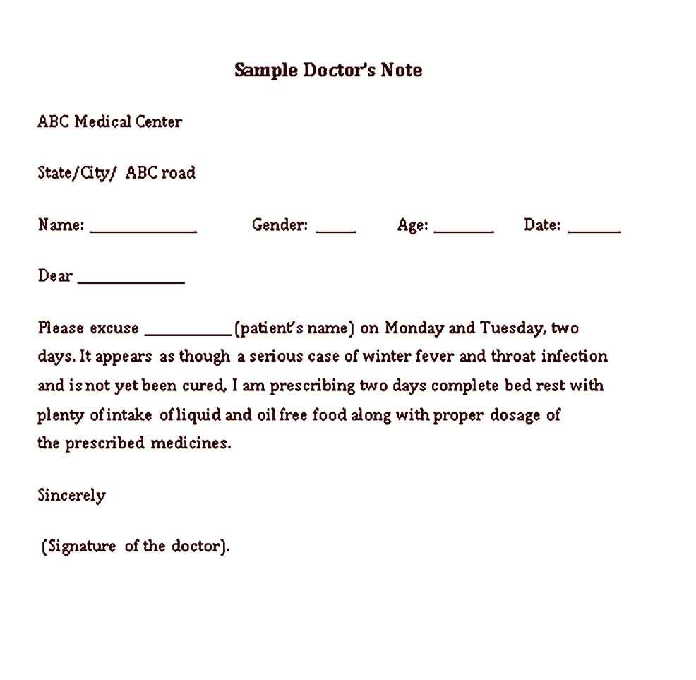 Sample Medical Doctor Note Templates   Doctors note template, Doctors note,  Medical words