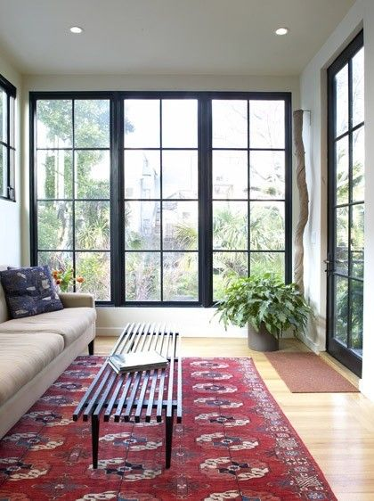 Black Window Casing Rug Contemporary Family Rooms Black Window