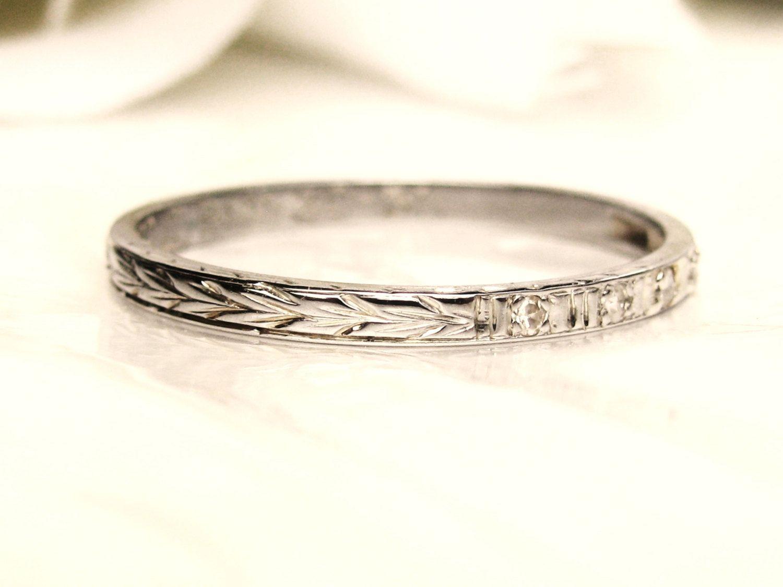 Art deco diamond wedding ring 18k white gold antique thin