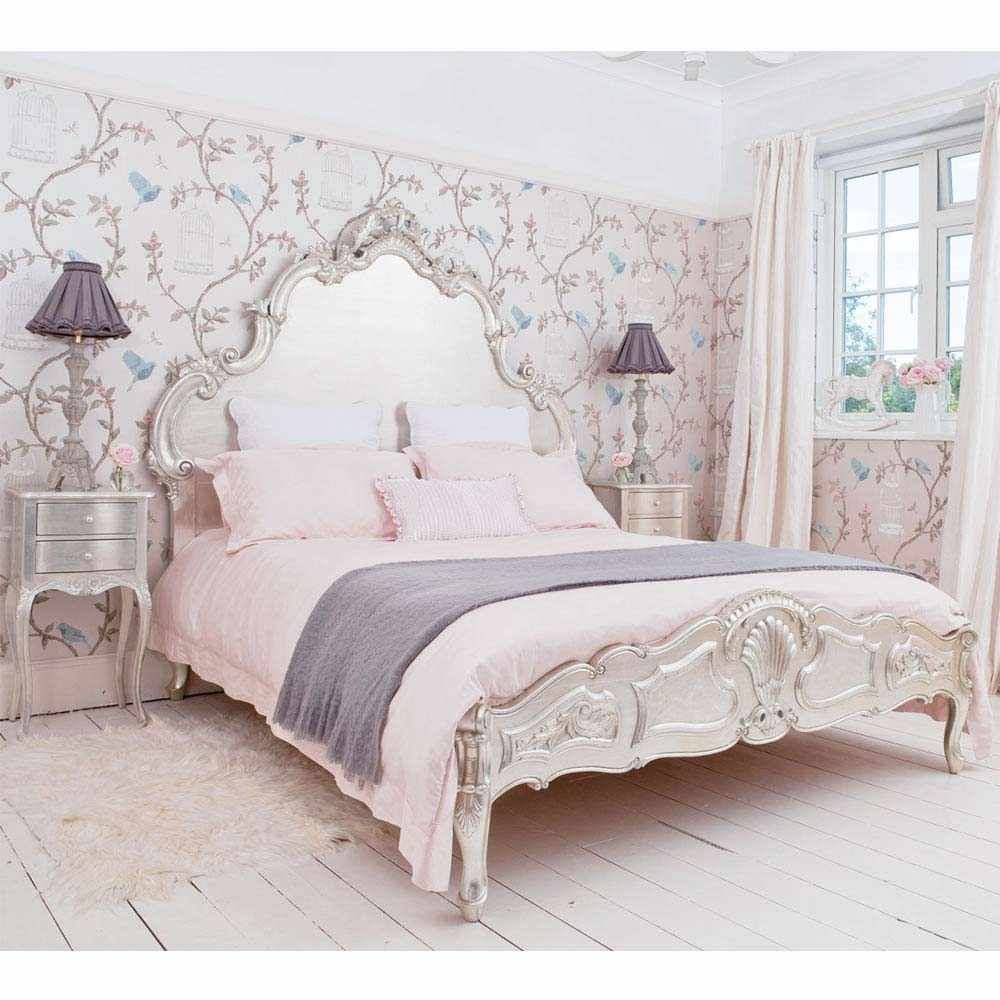 Sylvia Silver Luxury Bed - Silver French Bedroom Furniture
