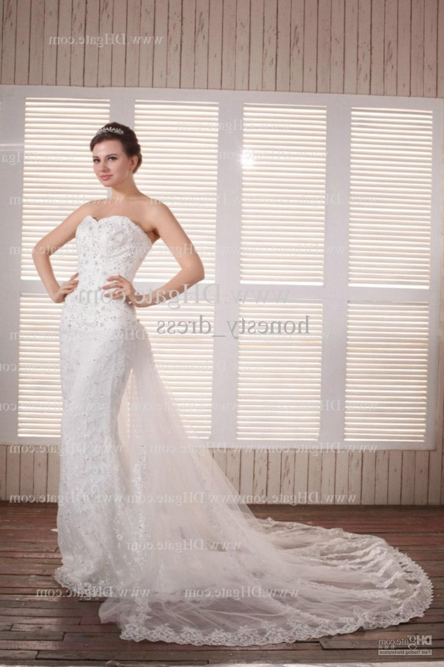 Wedding dress with removable train  Sheath Wedding Dresses With Detachable Train  Wedding Dress