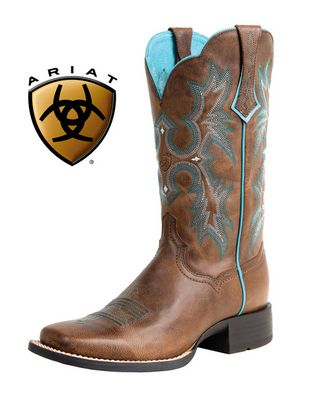 NIB Women's Ariat 10008017 Tombstone Brown Square Toe Cowboy Boots ...