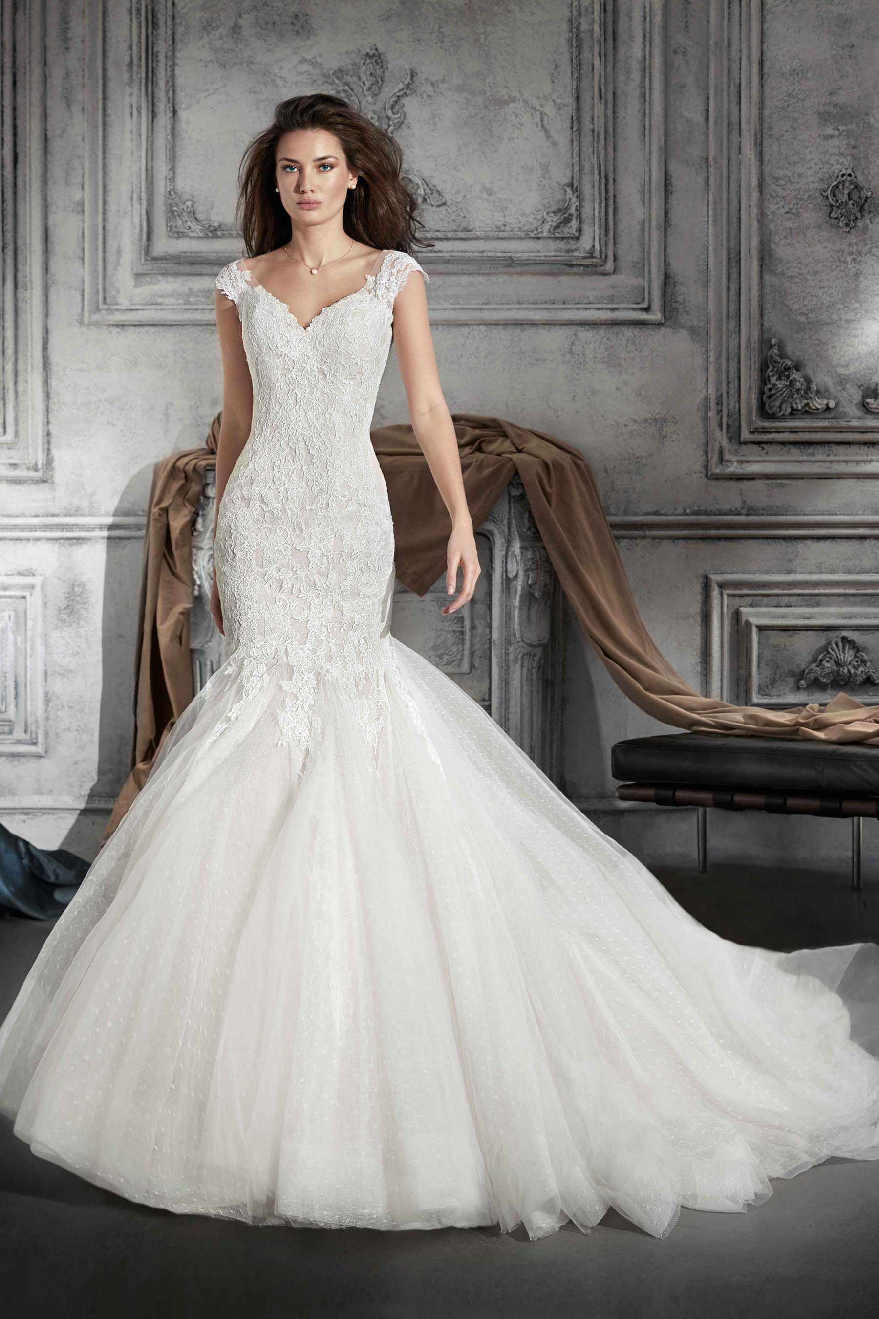 Demetrios style an exquisite mermaid dress in chantilly