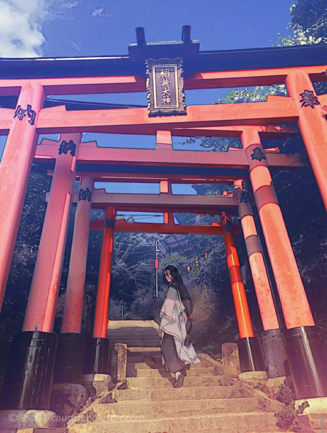 Susabi 神社 イラスト 鳥居 イラスト 幻想的なイラスト