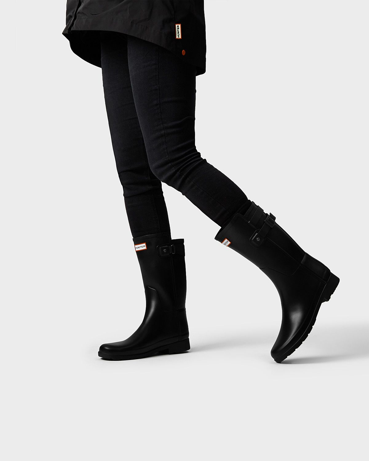 35a809d5f5e Womens Black Short Refined Rain Boots | Official Hunter Boots Store ...