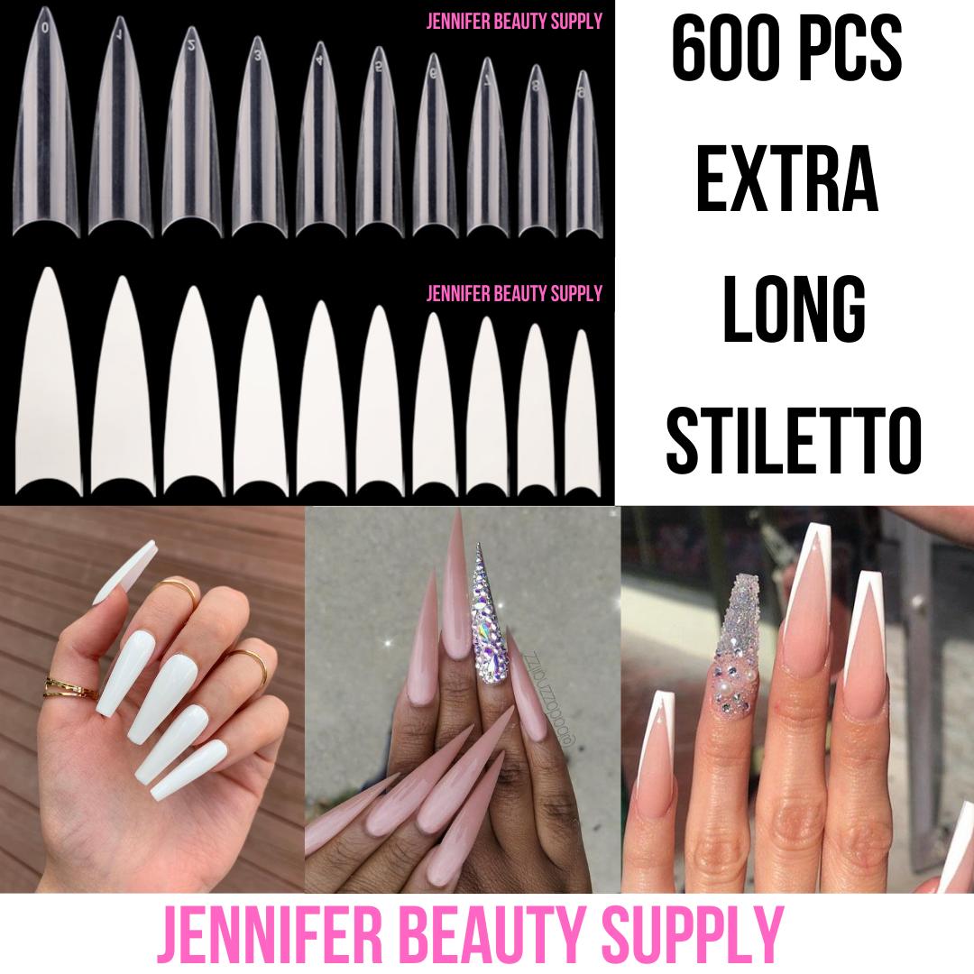 600 Pcs False Nail Tips Extra Long Stiletto Pointy French Coffin Ballerina Nails Ebay In 2020 Fake Acrylic Nails Acrylic Nail Tips Fake Nails