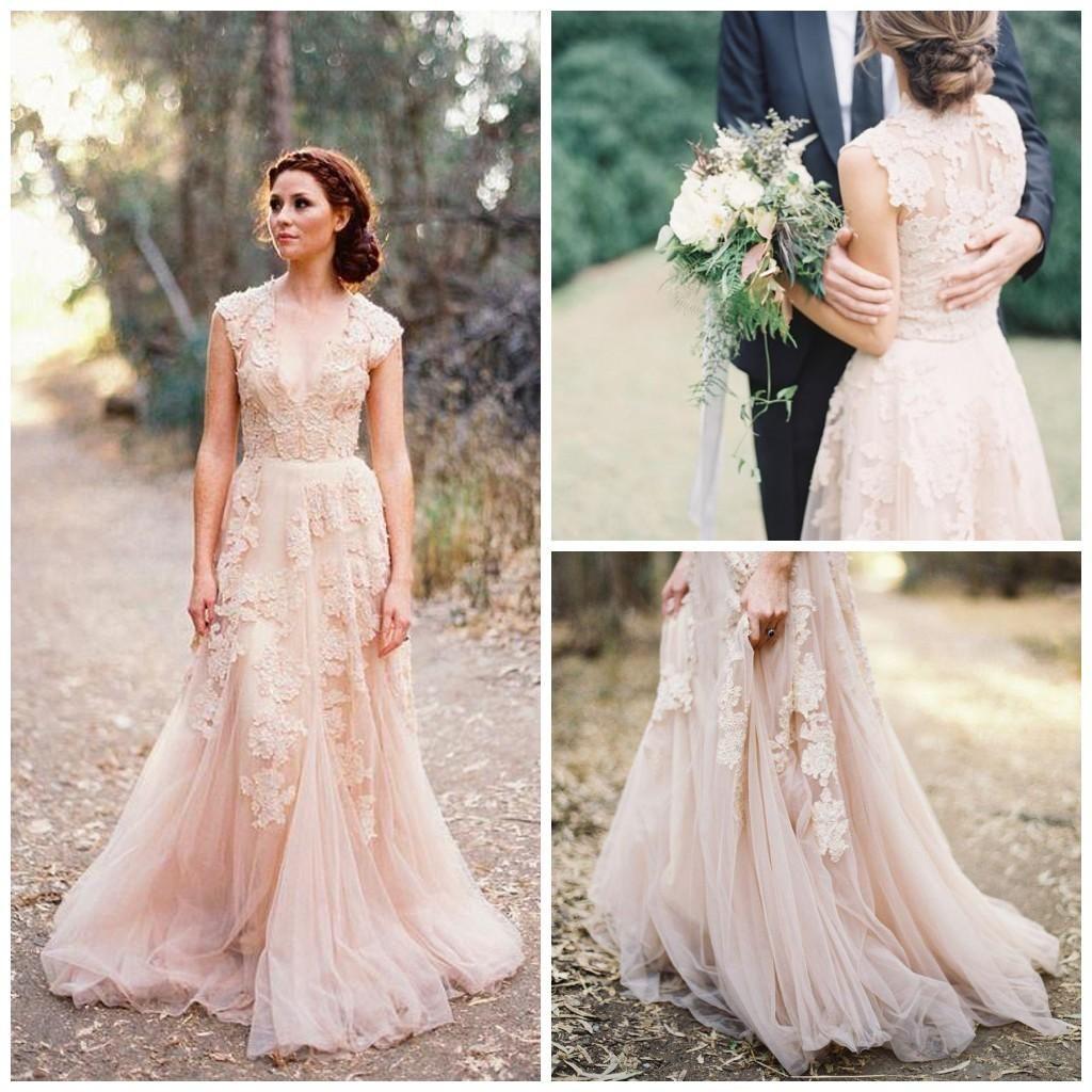 2017 encaje una línea de tul vestidos de novia de cuello V Sweep ...