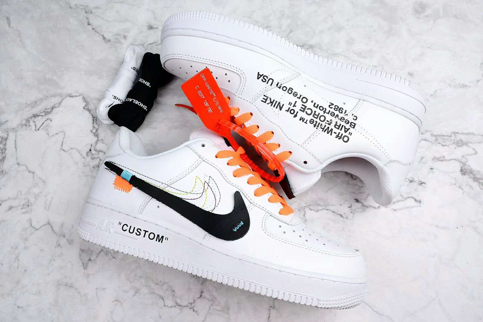 Off White Nike Air Force 1 Af1 Low White Custom White Nike Shoes Nike Shoes Air Force Nike Shoes Outlet