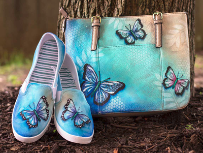 Butterfly Shoes and Purse Butterfly shoes, Painted shoes