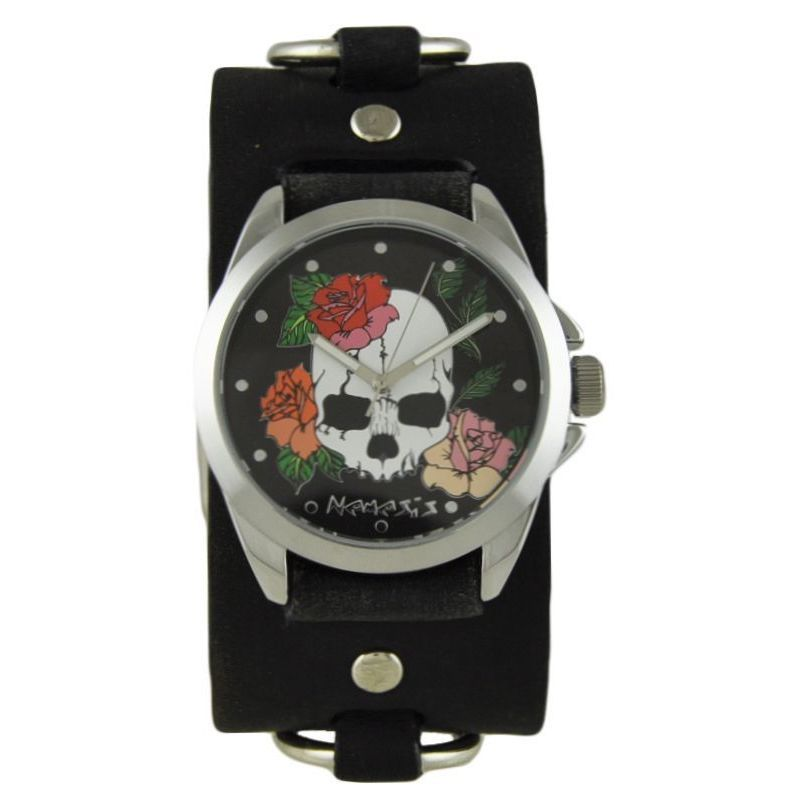 Nemesis Skull and Roses Watch with Faded Ring Cuff Band KFRB934K