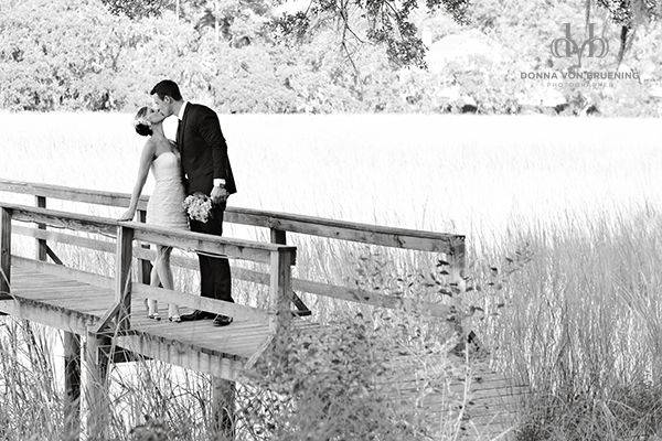 Beautiful Shot of Bride and Groom on a Bridge #wedding #photography