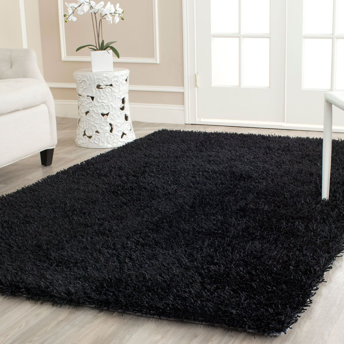 Plush Black Shag Power Loom And Shag Rugs